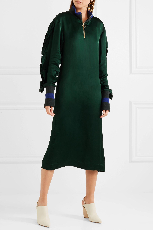 Maggie Marilyn I've Built My Life Around You Kleid aus Satin mit gestreiftem Jersey-Besatz