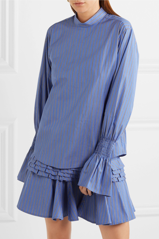 Maggie Marilyn Revolution shirred striped cotton-poplin top