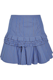 Maggie Marilyn Composed ruffled striped cotton-poplin mini skirt