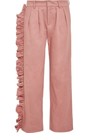Maggie Marilyn I'll Stand Beside You ruffled cotton-blend drill boyfriend pants