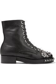 Crystal-embellished leather biker boots