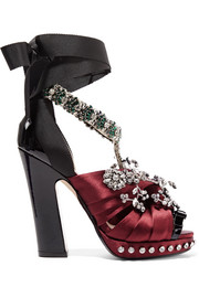 Crystal-embellished satin, grosgrain and patent-leather sandals