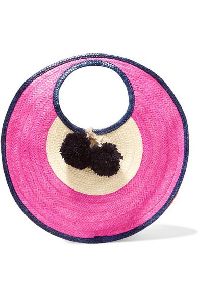 Sophie Anderson - Adorada Mini Pompom-embellished Woven Raffia Tote - Pink