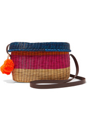 Sophie Anderson Costello pompom-embellished leather-trimmed woven raffia shoulder bag