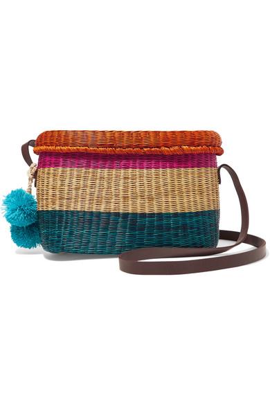 Sophie Anderson - Costello Pompom-embellished Leather-trimmed Woven Raffia Shoulder Bag - Blue