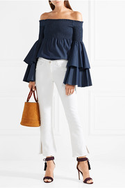 Appolonia off-the-shoulder shirred stretch-cotton top