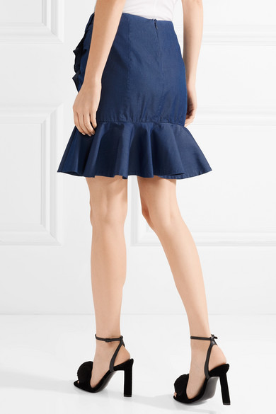 Ruffled Stretch-cotton Mini Skirt - Dark denim Caroline Constas Free Shipping Pre Order E4a797
