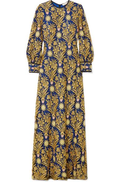 Tory Burch Alice verzierte Robe aus Spitze und Satin mit Metallic-Stickereien