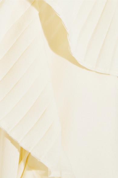 Tory Burch Diana Schluppenbluse aus Seidenchiffon mit Plisseebesatz Online Bestellen gOKiC8OH