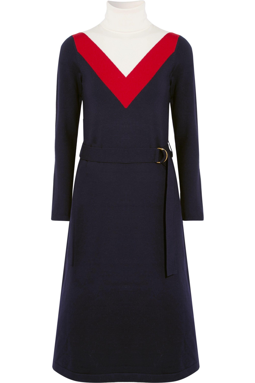 Tory Burch Viven intarsia wool-blend turtleneck midi dress