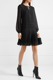 Tory Burch Sydney crochet-trimmed pleated chiffon mini dress