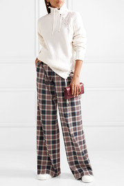 Tory Burch Garrett pleated plaid twill wide-leg pants