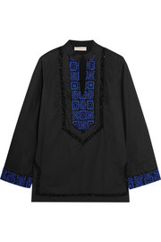 Filipa embellished cotton-poplin tunic