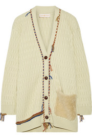 Tory Burch Quincy shearling-trimmed cable-knit wool cardigan