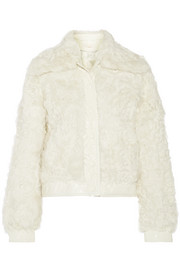 Tory Burch Camilla faux patent leather-trimmed shearling coat