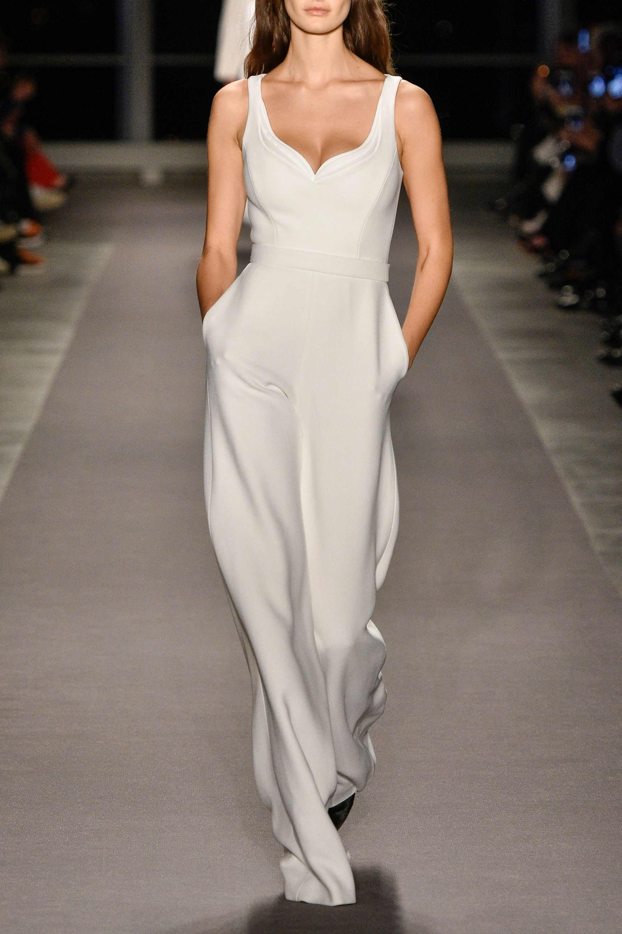 Brandon Maxwell Belted crepe jumpsuit