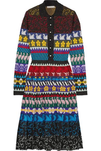 Mary Katrantzou - Cecile Pleated Lurex Jacquard-knit Midi Dress - Black