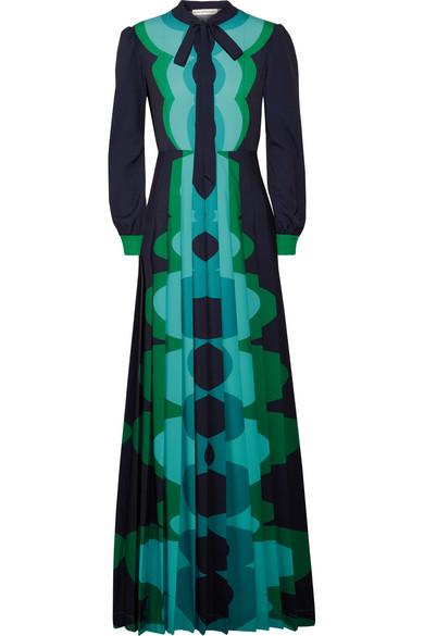 Mary Katrantzou - Uritz Pussy-bow Pleated Printed Crepe Maxi Dress - Petrol