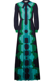 Mary Katrantzou Uritz pussy-bow pleated printed crepe maxi dress
