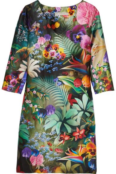 Mary Katrantzou - Shea Floral-print Silk-faille Dress - Green