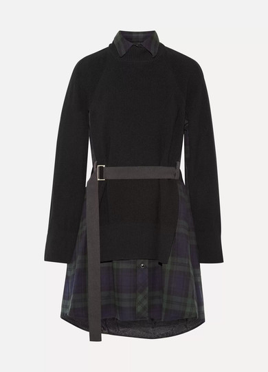 Sacai - Grosgrain-trimmed Wool-flannel And And Ribbed Cotton Dress - Black