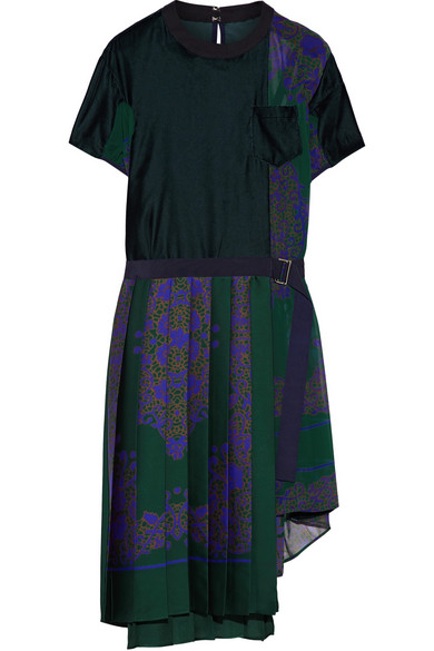 Sacai - Velvet-paneled Pleated Satin And Chiffon Dress - Forest green
