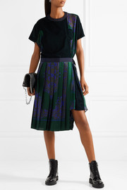 Velvet-paneled pleated satin and chiffon dress