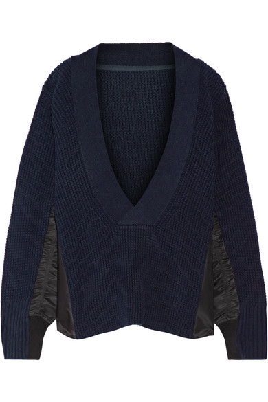 Sacai - Shell-trimmed Wool Sweater - Navy