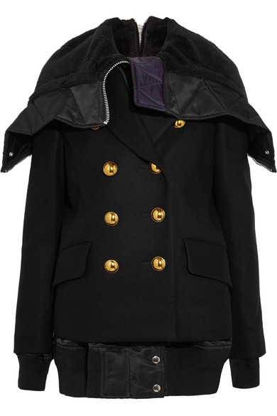 Sacai - Faux Shearling And Shell-trimmed Melton Wool Jacket - Black