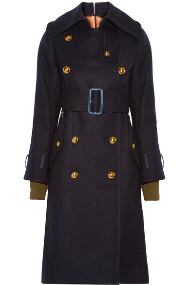 Sacai - Shell-trimmed Melton Wool Coat - Midnight blue
