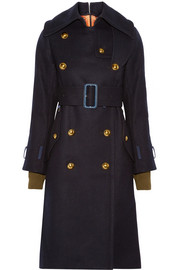Shell-trimmed melton wool coat