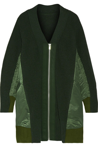 Sacai - Oversized Shell-trimmed Wool Cardigan - Army green