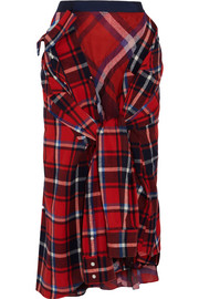 Tie-front tartan cotton-flannel midi skirt