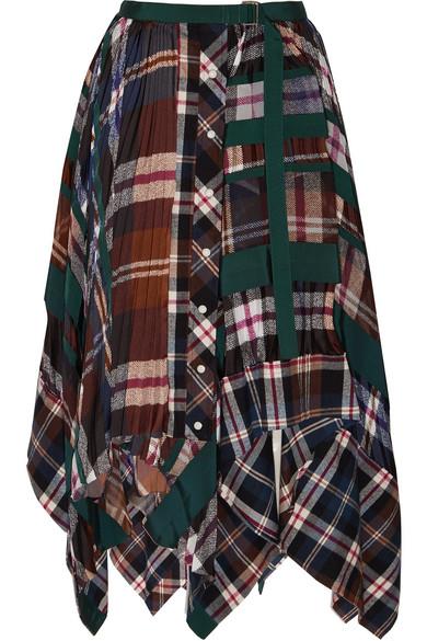 Sacai - Asymmetric Pleated Tartan Flannel Skirt - Navy