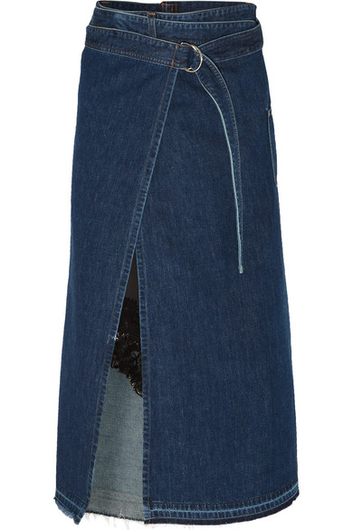 Sacai - Lace And Satin-trimmed Denim Wrap Skirt - Mid denim