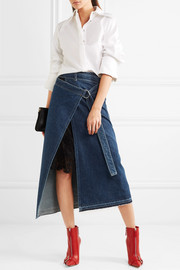 Lace and satin-trimmed denim wrap skirt