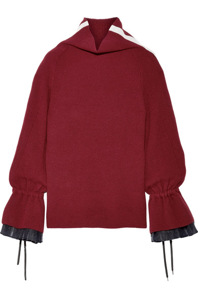 Sacai - Organza And Grosgrain-trimmed Wool-blend Sweater - Claret