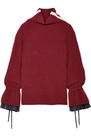 Organza and grosgrain-trimmed wool-blend sweater