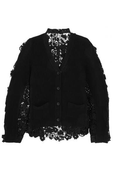 Sacai - Flower Chemical Wool And Cotton-lace Cardigan - Black