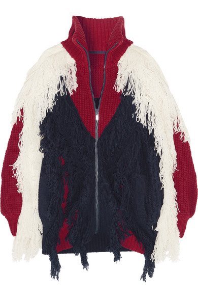 Sacai - Fringed Color-block Wool-blend Cardigan - Navy