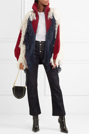 Fringed color-block wool-blend cardigan