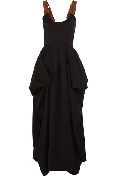 J.W.Anderson - Suede-trimmed Draped Twill Maxi Dress - Black