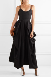 Suede-trimmed draped twill maxi dress