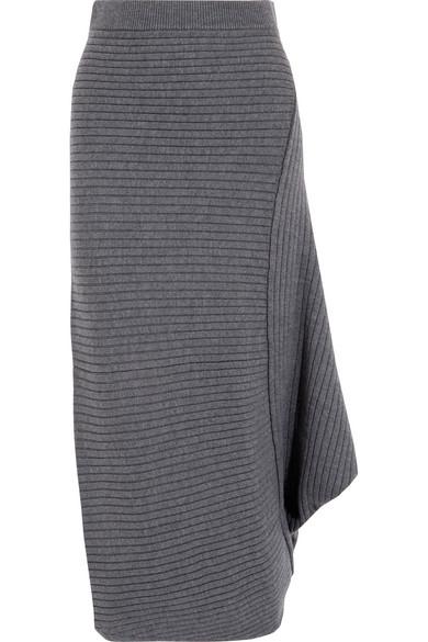 J.W.Anderson - Infinity Ribbed Merino Wool Midi Skirt - Anthracite