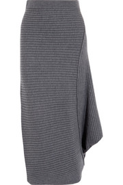 Infinity ribbed merino wool midi skirt