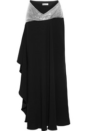 Chain-embellished asymmetric crepe maxi skirt