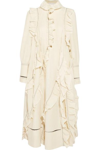 Sonia Rykiel Woman Ruffled Denim Mini Dress Ivory Size 40 Sonia Rykiel AWxsPqnLGO