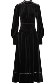 Cotton-blend velvet maxi dress