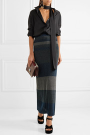 Sonia Rykiel Striped ribbed Lurex maxi skirt