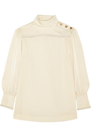 Sonia Rykiel Satin-trimmed crepe de chine blouse